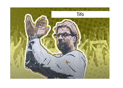 Pictured is the famous Borussia Dortmund tifo of their at the time departing manager Jurgen Klopp.