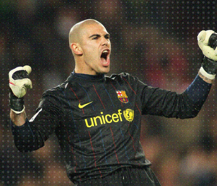 Barcelona FC and Spain national goalkeeper, Victor Valdes, in action as a sweeper keeper for his club.
