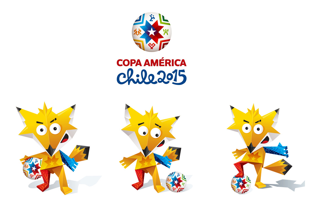 Copa America 2015 Chile - Zincha the mascot - three poses under the tournament logo