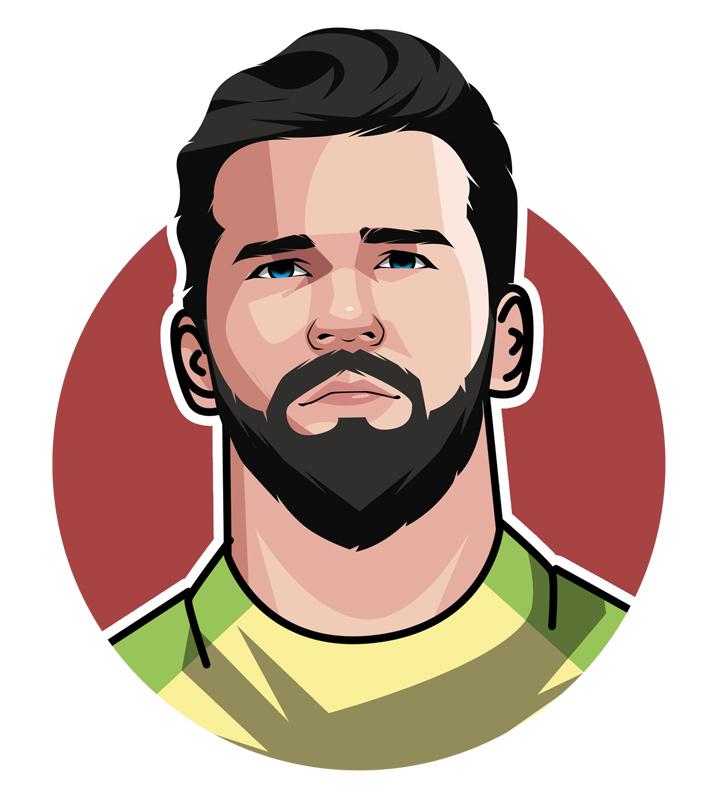 Brazil and Liverpool man between the sticks - Alisson Becker - Illustration.  Profile drawing.  Avatar image.  Art.  O Goleiro Gato - The Cat Goalie.
