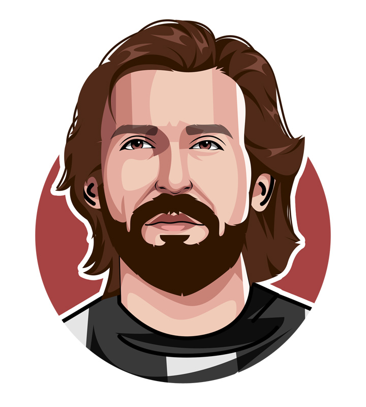 The profile drawing of one of the football icons - Andrea Pirlo - Illustration.  Art.  Juventus.