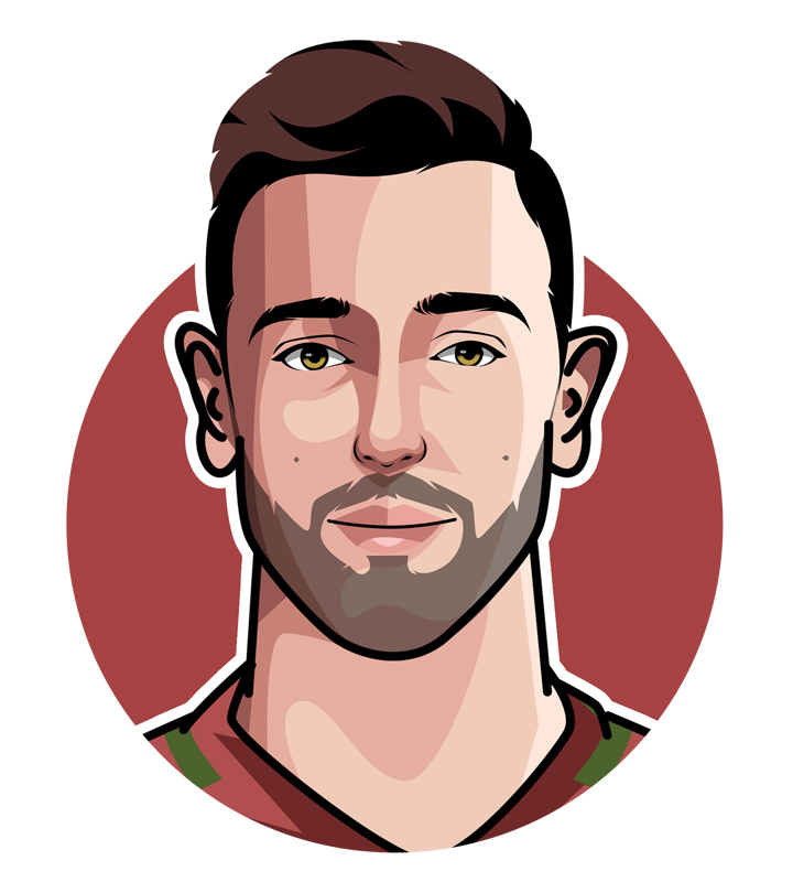 The profile drawing of Bruno Fernandes - The breakout Manchester United star.  Illustration.  Art.  Face.