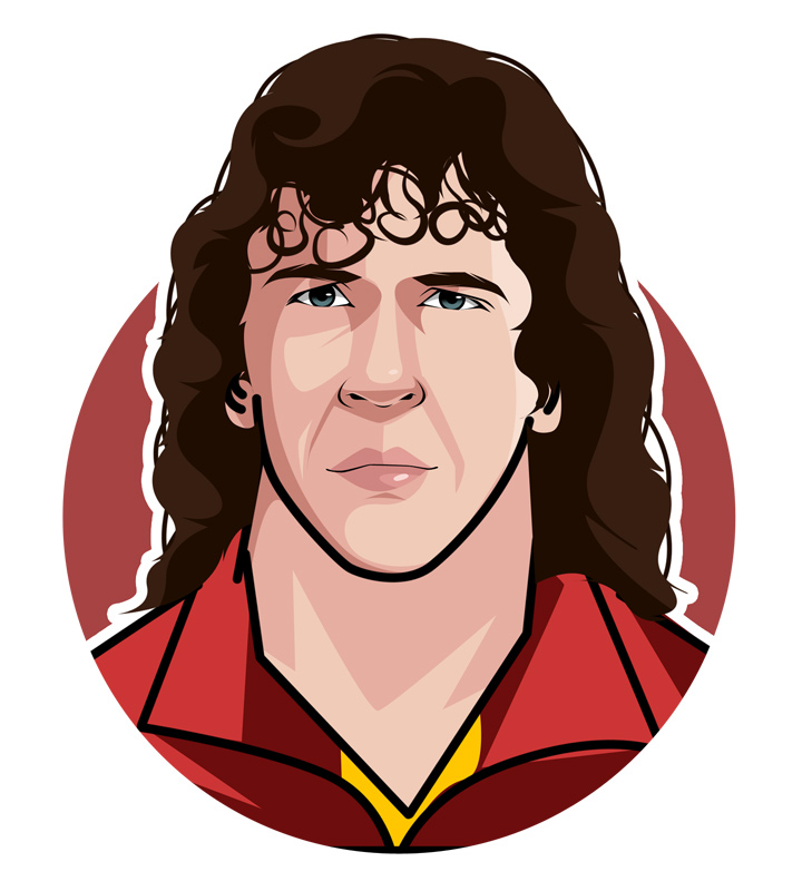 The legendary Barcelona FC defender, Carles Puyol, has had the nicknames of Tarzan and El Tiburon (The Shark) during his playing career.  Profile illustration.  Drawing.  Caricature.  Avatar art.