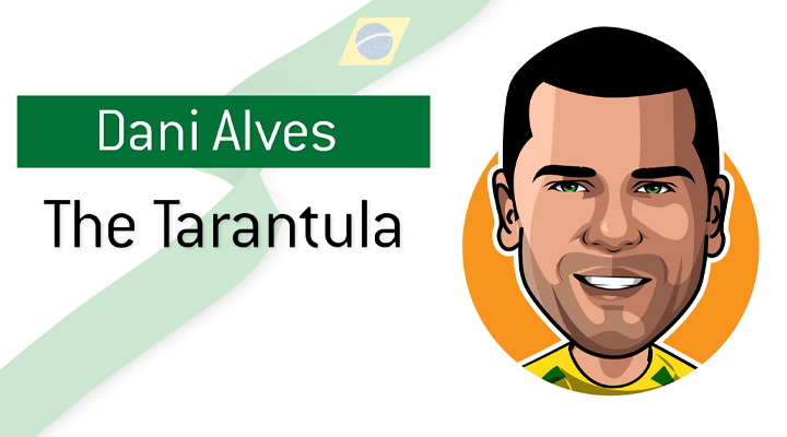 Profile illustration of Brazilian right back Dani Alves, known also as The Tarantula.  Football / Soccer.