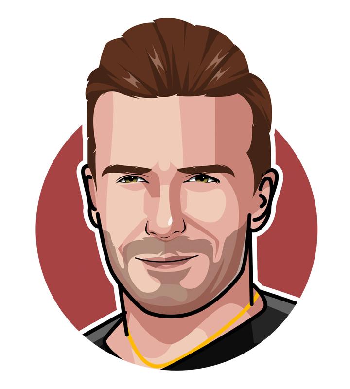 The illustration of the famous England football star - David Beckham - Profile drawing.  Digital art.  Golden Balls.