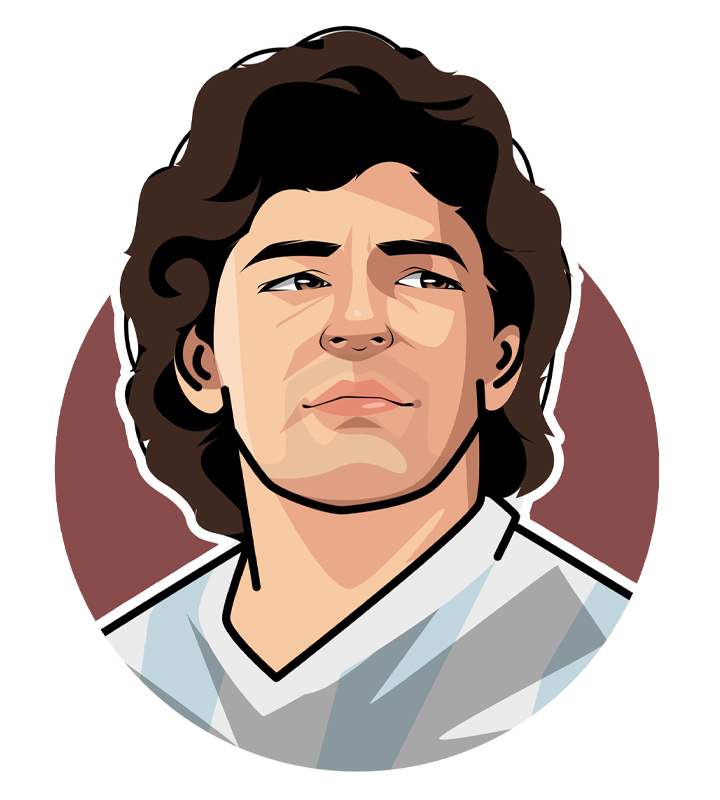 Arguably the best football player of all time - The amazing Diego Armando Maradona, also known as D10S in his native Argentina.  Illustration.  Profile drawing.  Avatar art.