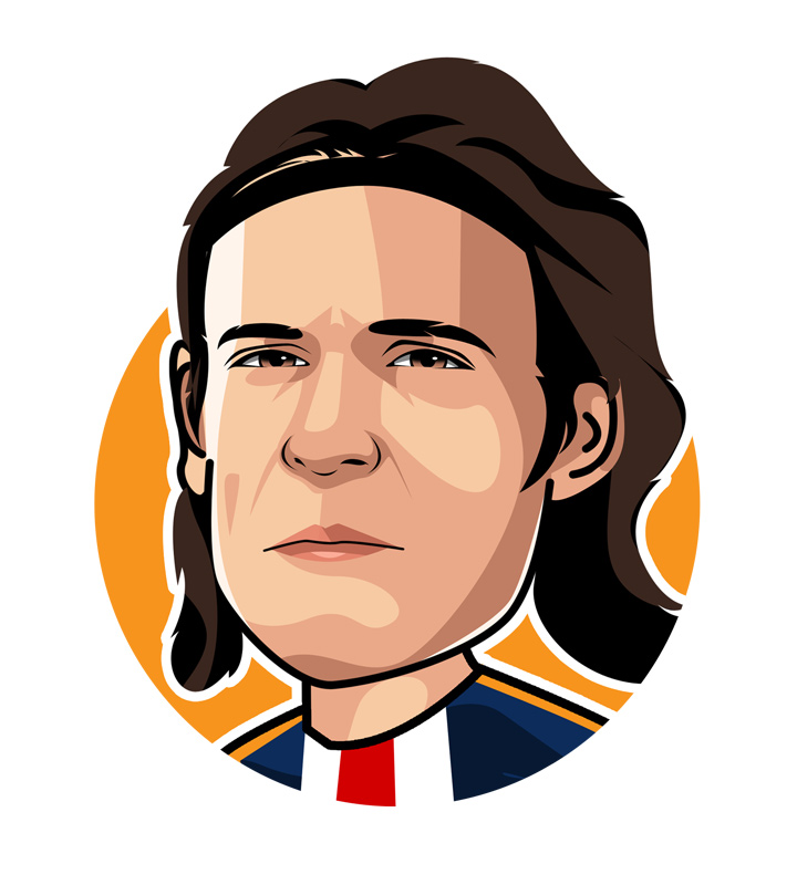 Famous sports nicknames - El Matador - Edinson Cavani - Illustration, profile drawing.  Uruguay, PSG.