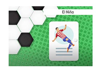 Fernando Torres also known as El Nino - The Kid - Illustrated representing his boyhood club of Atletico Madrid.