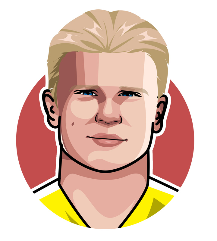 The Terminator - The new soccer superstar - Erling Haaland.  Illustration.  Profile.  Art.  Drawing.