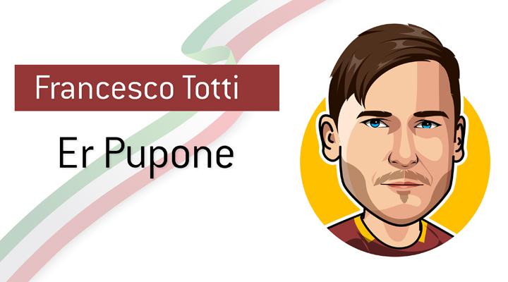 Legendary life-long AS Roma player, Francesco Totti, also known as the Big Kid - Er Pupone. - Profile illustration.  Nickname.