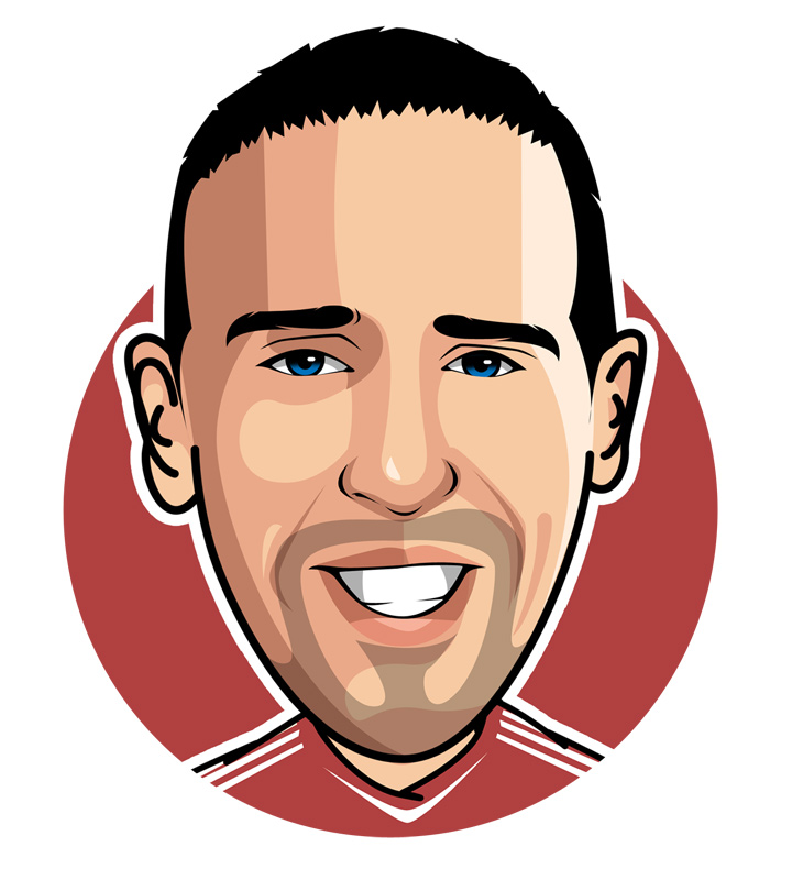 Profile drawing of Franck Ribery. Bayern Munich and France national footballer.  Illustration.  Sketch.  Avatar.