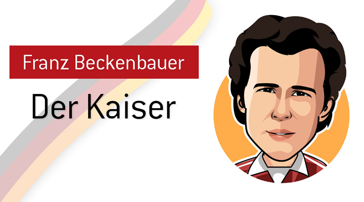 One of the most famous German soccer players of all time - Franz Beckenbauer, also known as Der Kaiser.  Profile illustration.  Nickname.