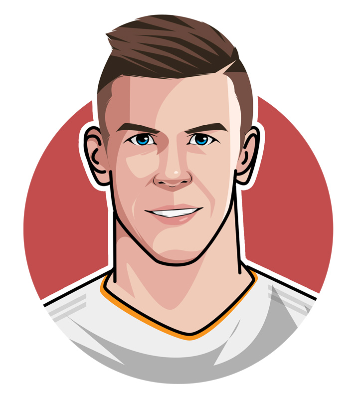 The Golfer - Nickname for Gareth Bale during his time at Real Madrid. - Profile, illustration. Caricature.  Avatar art.