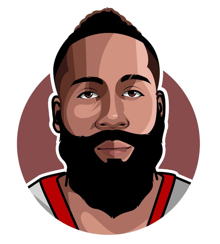 Profile artwork of James Harden � Basketball star player.  Illustration.