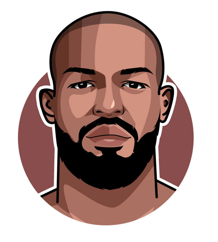 The profile illustration of MMA fighter Jon Jones aka Bones.  Digital drawing.  Art.
