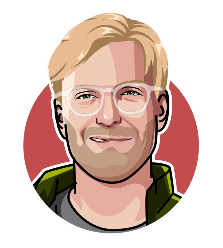 Profile drawing of iconic manager Jurgen Klopp.  Illustration.  Digital art.