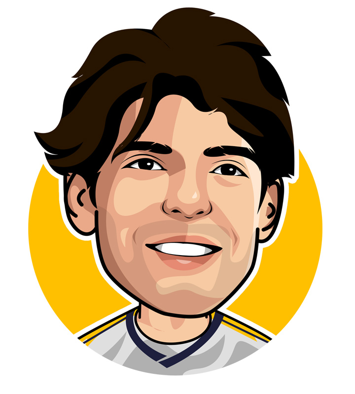 Profile drawing of Kaka. Real Madrid, AC Milan footballer. Brazil national.  Illustration.  Sketch.  Avatar.