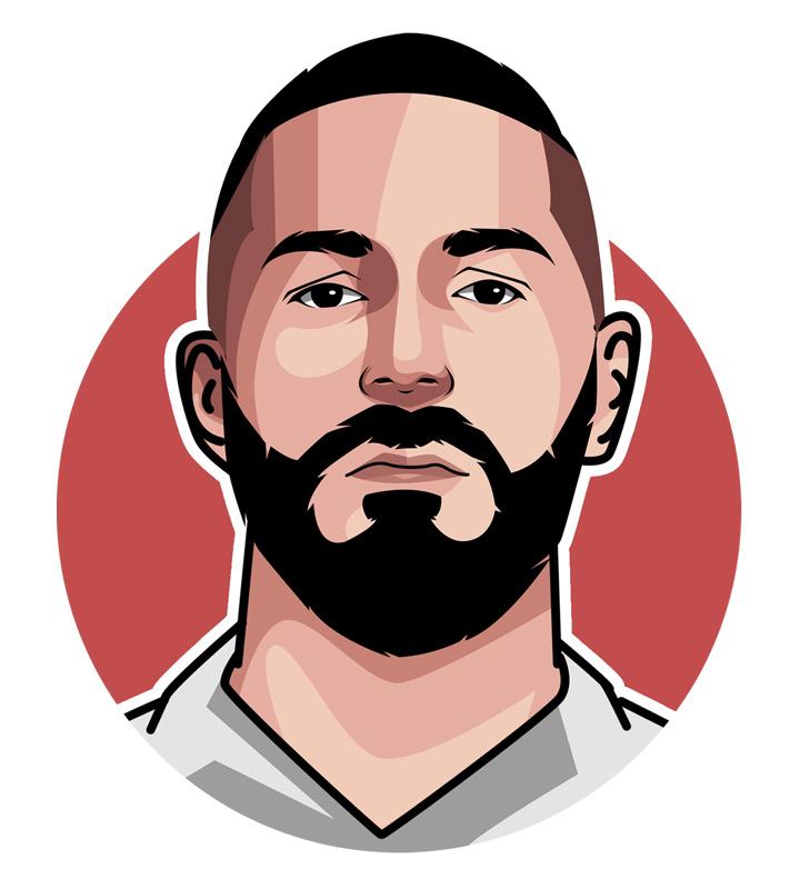 Karim Benzema - Football star - Art.  Illustration.  Drawing.  Profile.