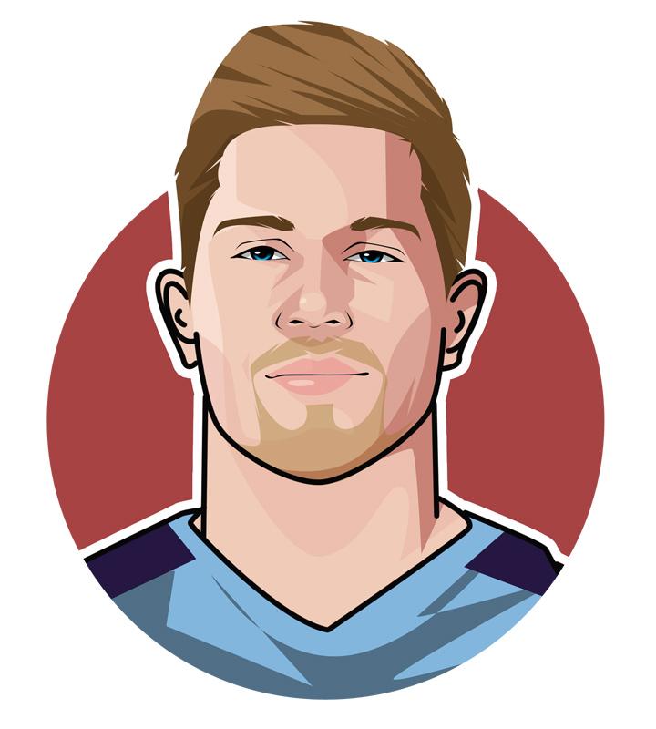 Kevin De Bruyne profile illustration.  Face drawing.  Digital art.  The Ginger Pele.  Belgium and Manchester City star footballer.