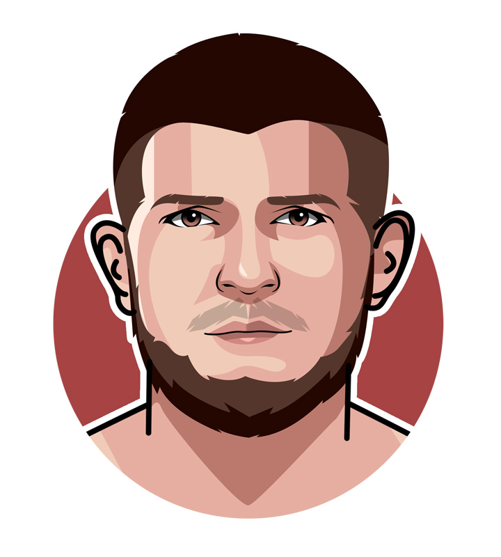 The profile drawing of MMA fighter Khabib Nurmagomedov, also known as The Eagle.  Illustration.  Art piece.