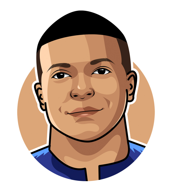 The profile illustration of the French football superstar Kylian Mpappe.  Drawing.  Digital art.