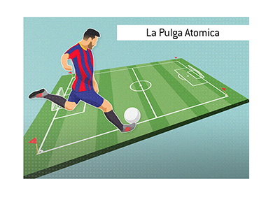 The one and only - Lionel Messi - Also known as The Atomic Flea - La Pulga Atomica - In action.  Profile drawing.