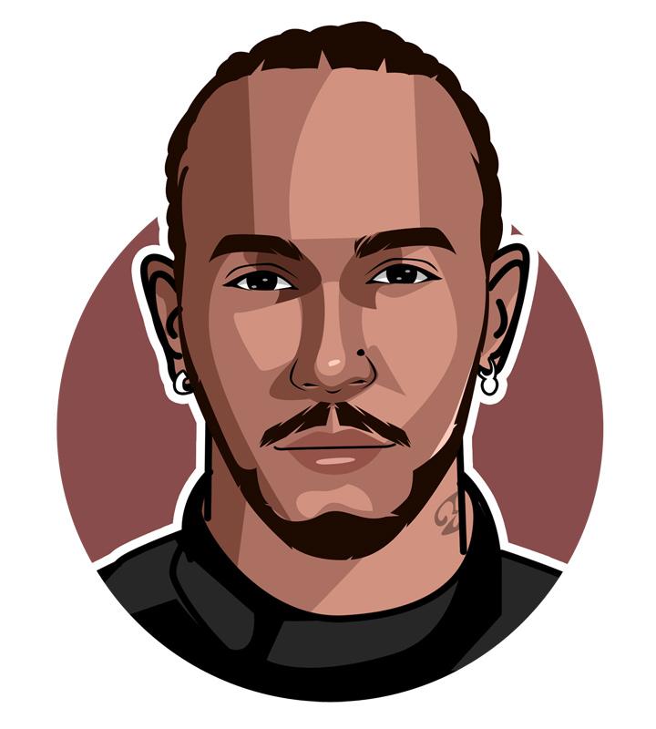 The Billion Dollar Man - Lewis Hamilton profile drawing.  Art.  Illustration.