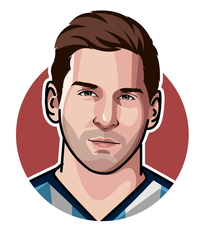 Lionel Messi illustration.  Profile.  Digital art.  La Pulga Atomica.