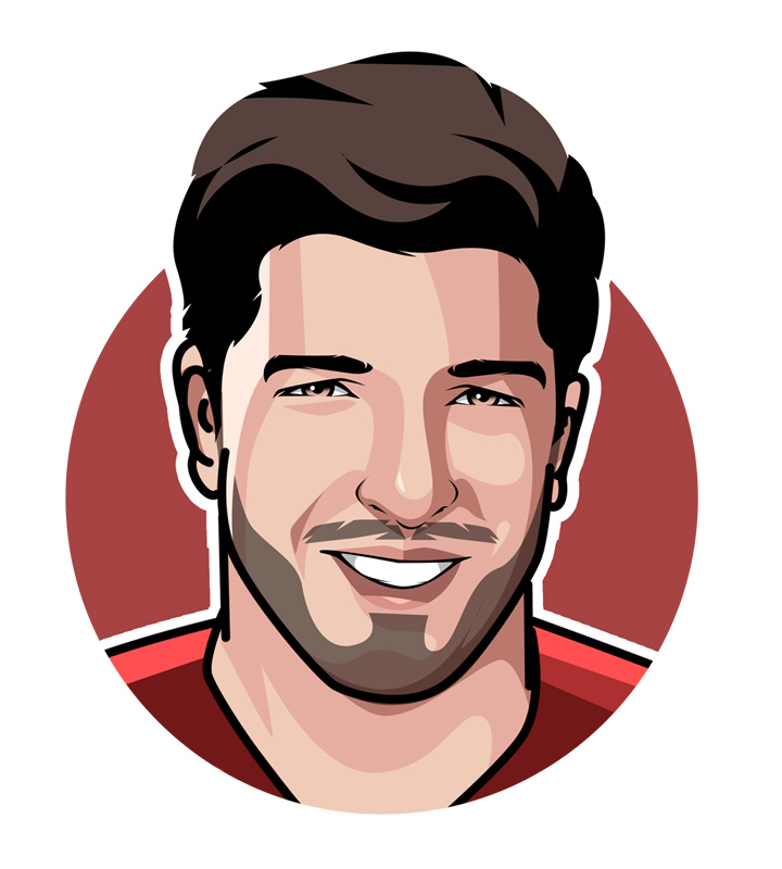 The profile drawing of Luis Suarez, otherwise known as the El Pistolero.  Digital art.  Illustration.