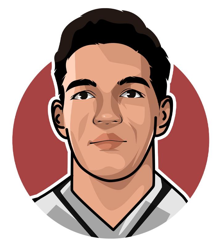 Manuel Francisco dos Santos, better known as Garrincha - Football star from Brazil - Illustration.  Drawing.  Profile.  Art.  Caricature.