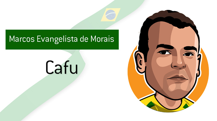 How Cafu came by his nickname is unknown.  What is known is that he is one of the best full-backs to ever play the game.  Marcos Evangelista de Morais.  Portrait / illustration / drawing.