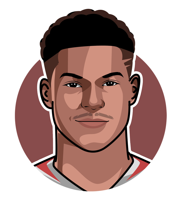 Profile drawing of Marcus Rashford - England and Manchester United footballer.  The Prince of England.  Art.  Illustration.