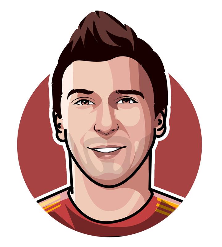 Profile illustration of Mario Mandzukic, Croatian football player.  Digital art.  Drawing.