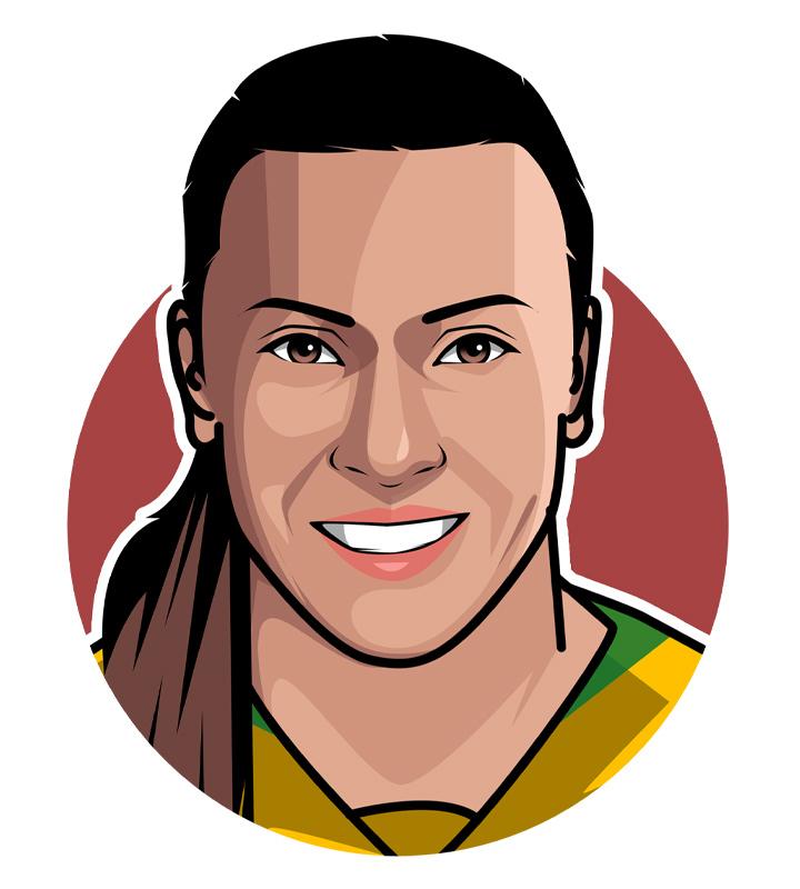 Profile illustration of Marta Vieira da Silva, the female soccer player from Brazil.  Digital art.