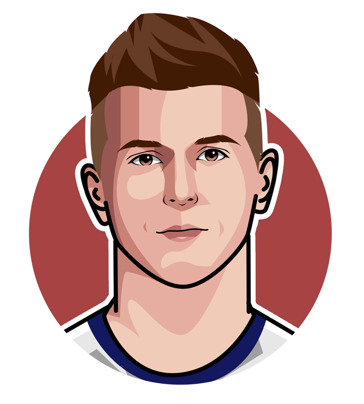 Illustration of footballer Mason Mount - Digital art.  Profile drawing.  Mister Chelsea.
