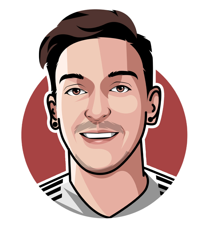 Mesut Ozil profile drawing.  German football star.  Illustration.  Art.