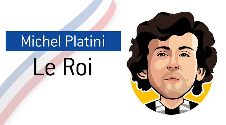 Michel Platini was a legendary France and Juventus player.  Nicknamed Le Roi (The King) for a reason.  Profile illustration.