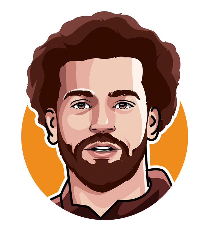 Illustration of soccer player Mohamed Salah.  Profile drawing.  Digital art.