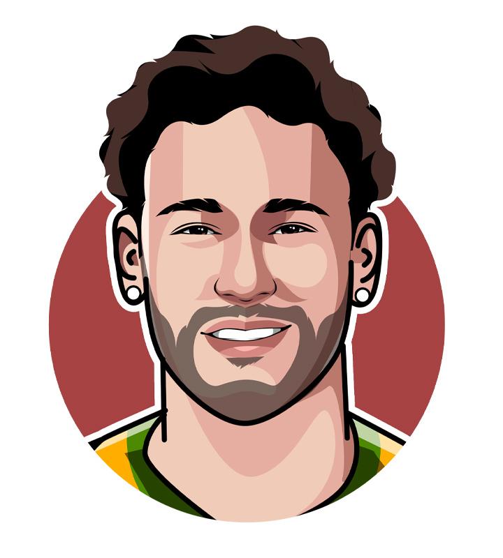Neymar da Silva Santos Junior profile drawing.  Illustration.  Digital art.