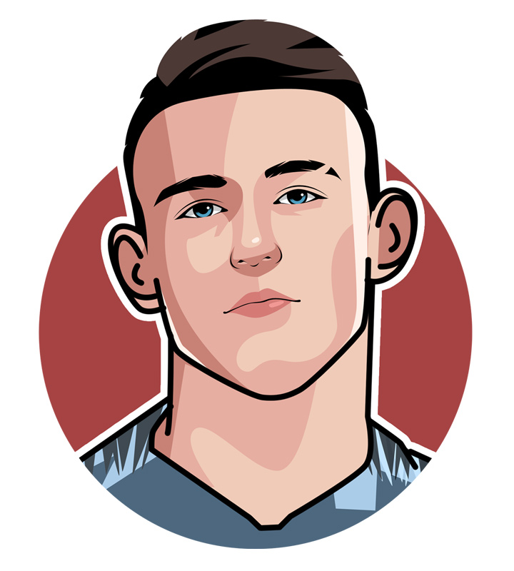 Phil Foden illustration.  Profile drawing.  England soccer star.  Manchester City.  Player nickname.