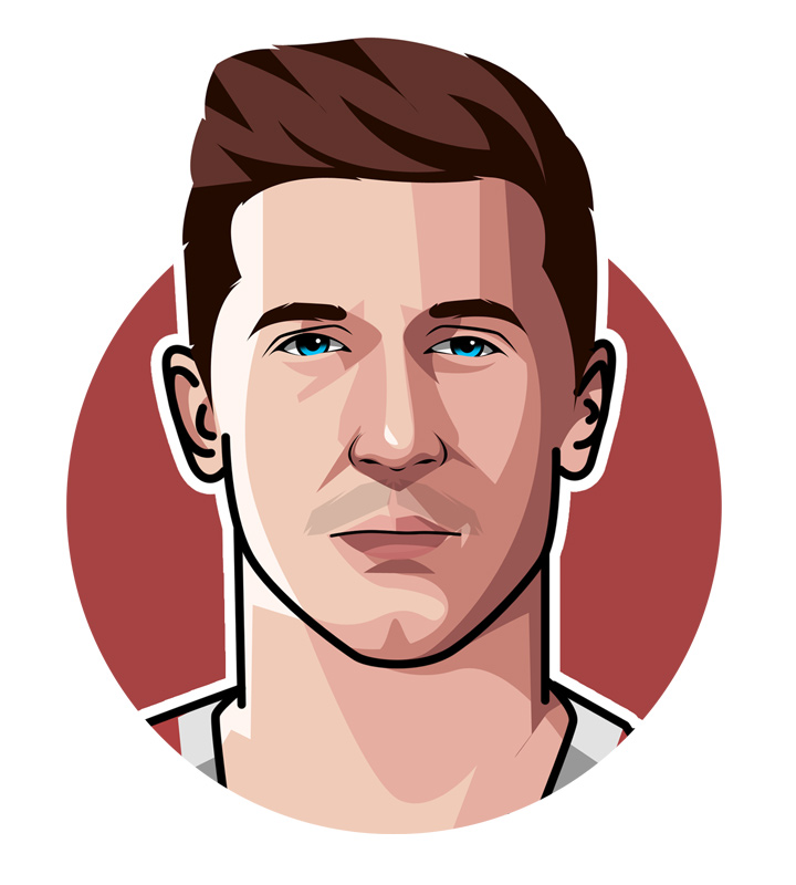 Robert Lewandowski profile drawing.  Illustration.  Digital art.