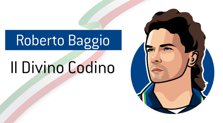A famous Italian attacking football player - Roberto Baggio, also known as the Il Divino Codino (The Divine Ponytail).  Profile illustration.