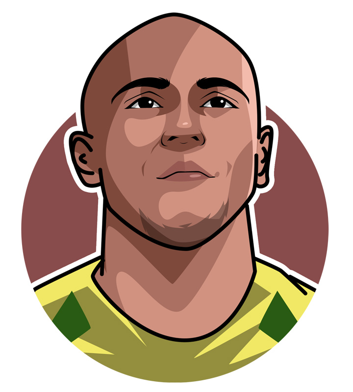 One of the best left-backs to play the game of football - The Brazilian Roberto Carlos - Illustration.  Profile drawing.  Art.  Avatar.
