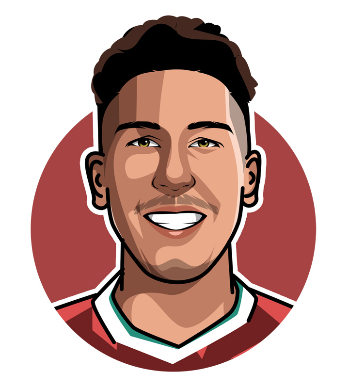 Roberty Firmino - Bobby - Illustration.  Art.  Profile drawing.  Liverpool FC.