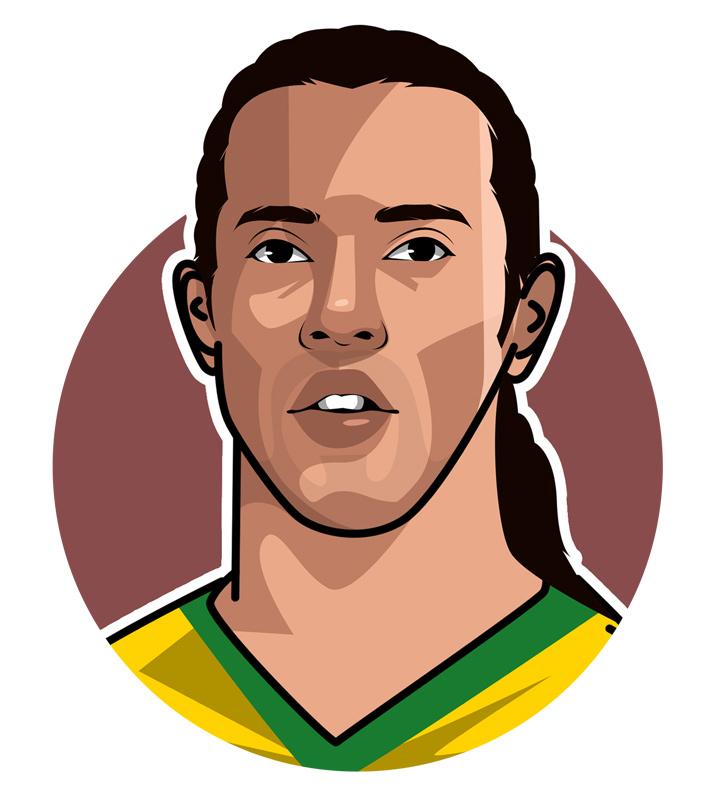 Ronaldinho Gaucho - Profile illustration.  Drawing.  Art.  Avatar.  Brazilian soccer superstar.
