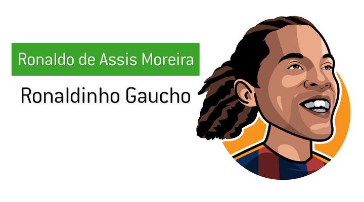 One of the biggest icons of the game - Ronaldinho Gaucho - Real name: Ronaldo de Assis Moreira - Illustration.