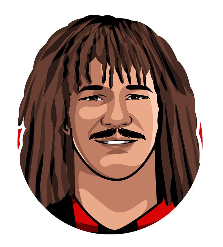 Profile drawing of Ruud Gullit - Tulipano Negro - PSV AC Milan footballer. Holland - Dutch - Netherlands national.  Illustration.  Sketch.  Avatar.