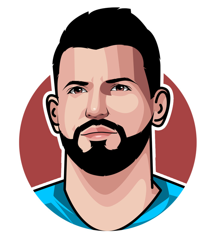 What is Sergio Aguero nickname?  Player profile illustration.  Art.  Drawing.