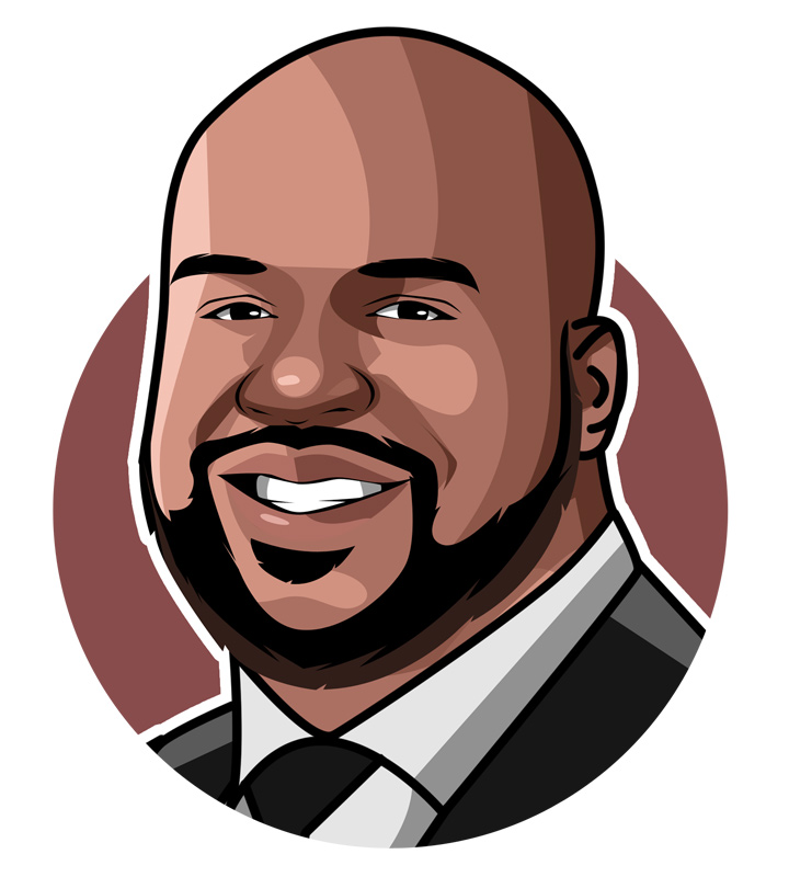 Shaquille ONeal sporting a suit and tie.  Illustration.  Profile drawing.  Art.  The Diesel.