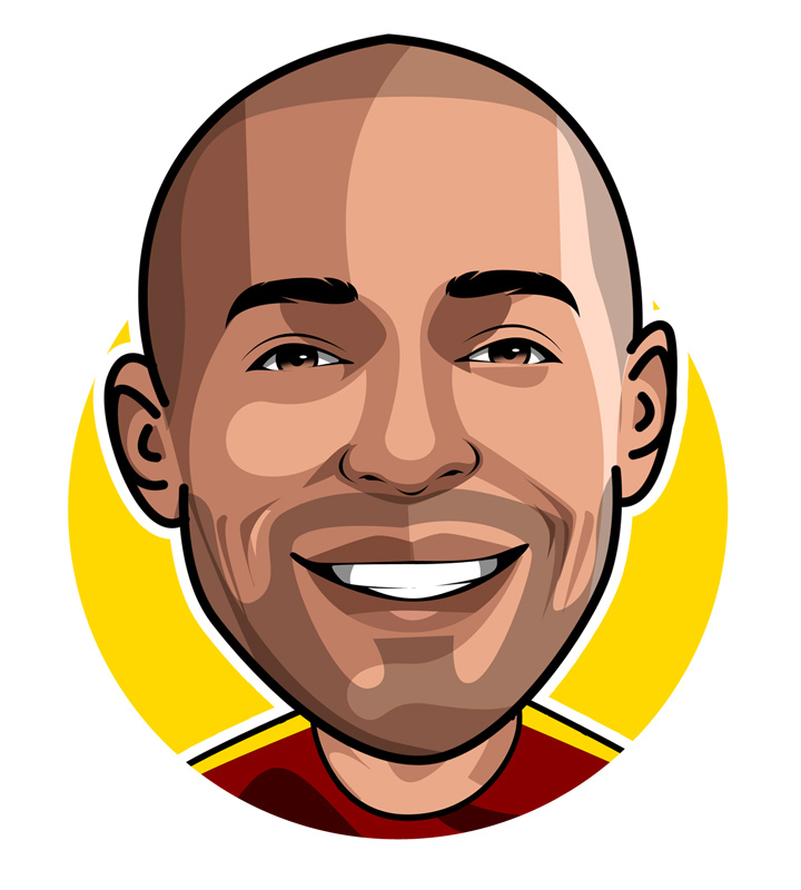 Profile drawing of Thierry Henry. Arsenal FC and France national.  Footballer.  Illustration.  Sketch.  Avatar.